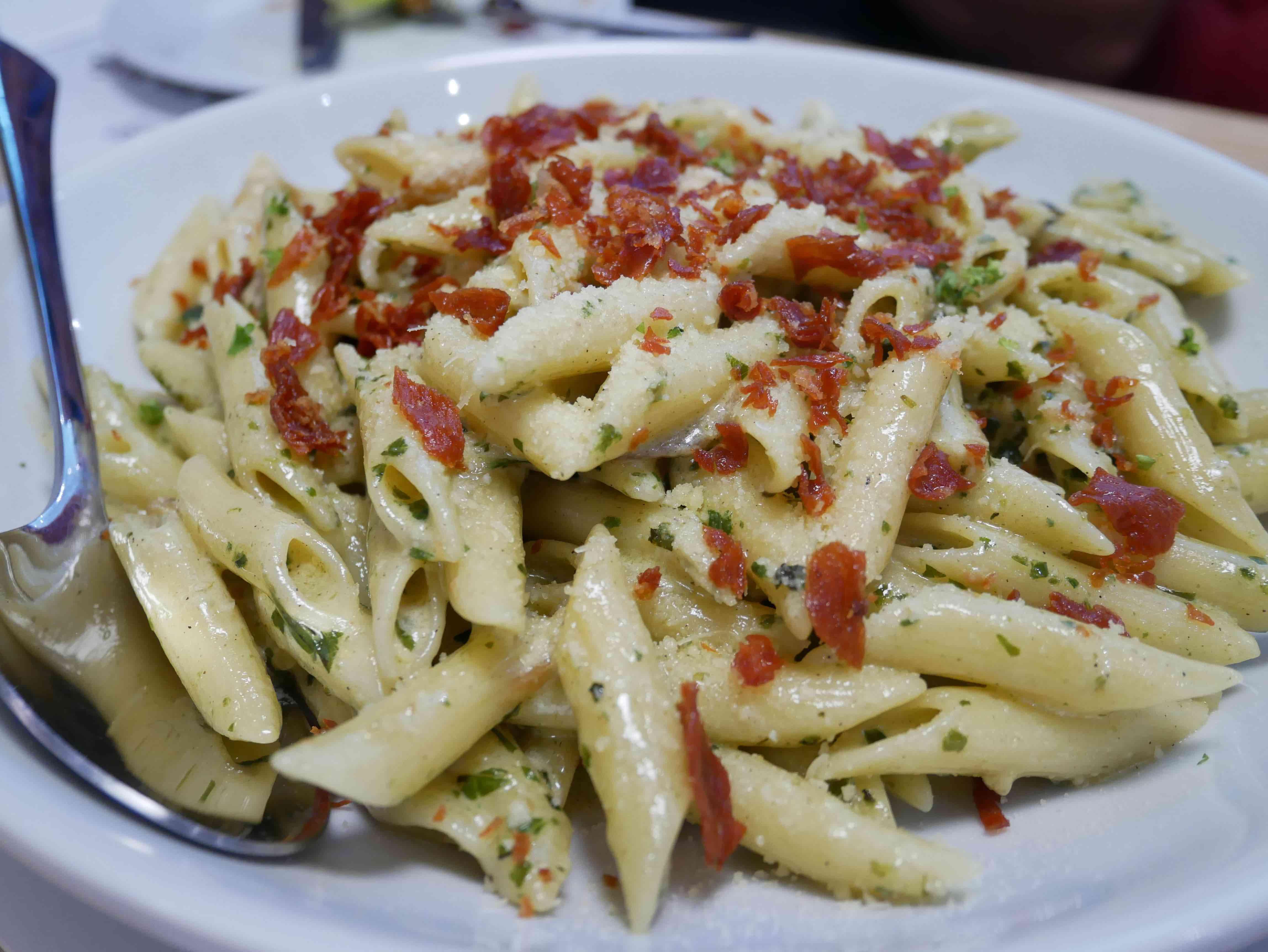 The Creamy Pesto and Prosciutto pasta. (Photo: Rachel Malaguit/Coconuts)