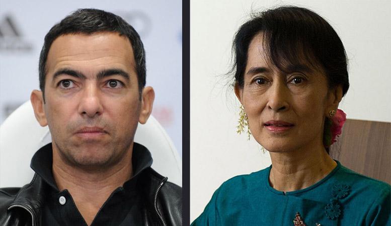 FIFA's Youri Djorkaeff, at left. Myanmar State Counsellor Aung San Suu Kyi. Photos: Wikimedia Commons