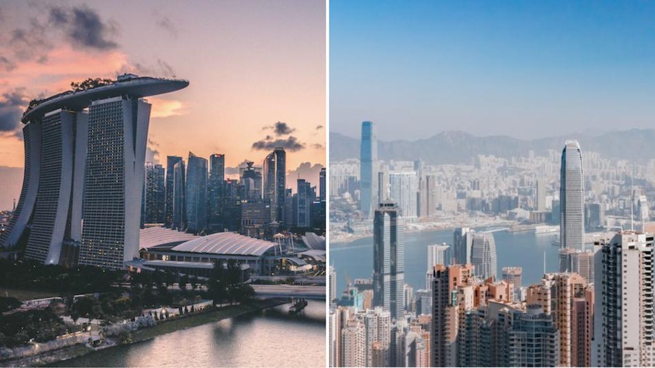 The long-awaited travel bubble between Hong Kong and Singapore may see yet another delay. Photos via Unsplash/Swapnil Bapat (left) and Ruslan Bardash (right)