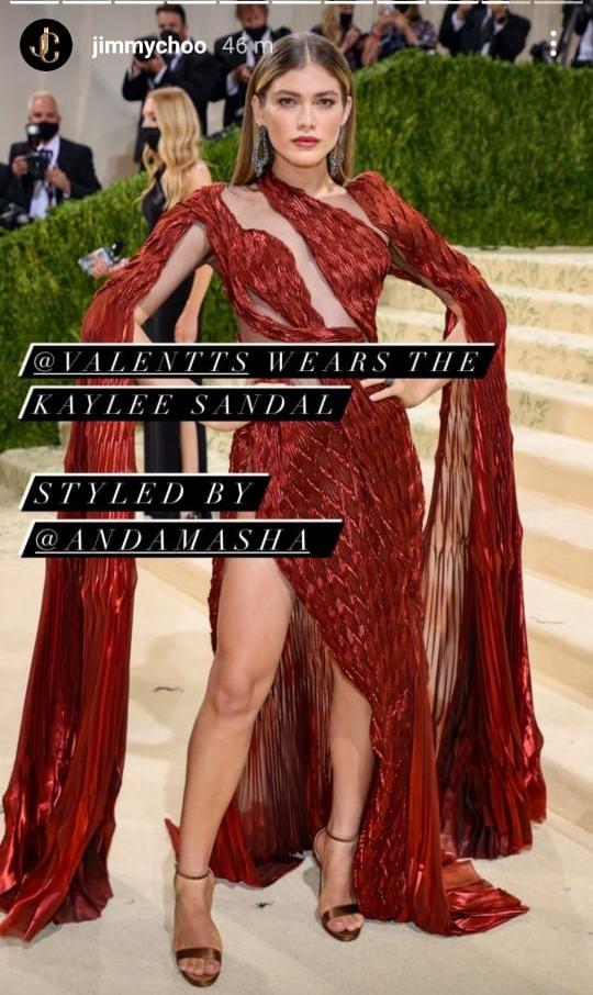Valentina Sampaio at the Met Gala. Photo: Jimmychoo/Instagram